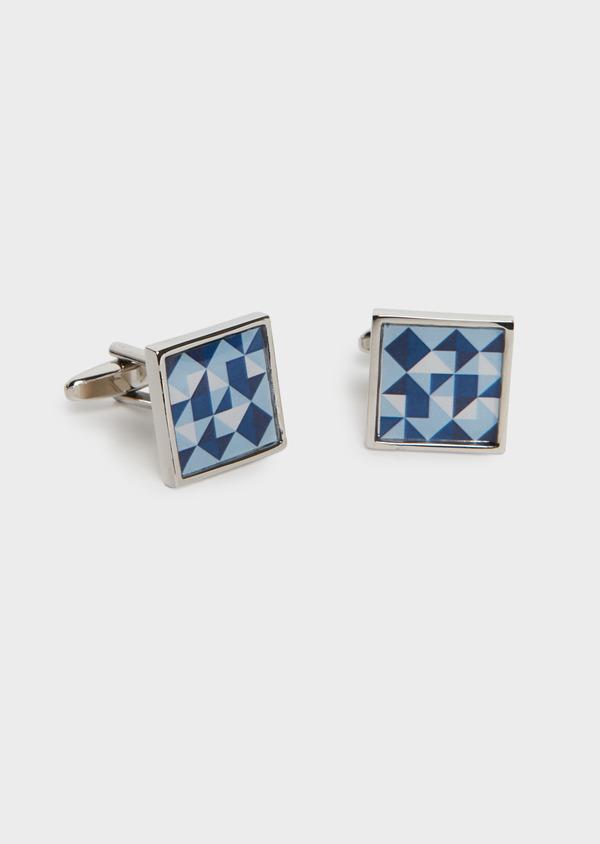 Boutons de manchettes fantaisie carrés bleus - Father and Sons 25656