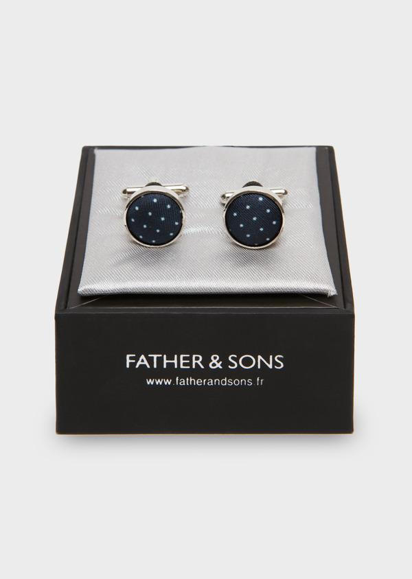 Boutons de manchettes fantaisie ronds bleu indigo en soie - Father and Sons 18206