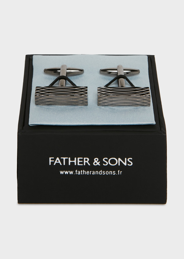 Boutons de manchettes rectangulaires en reliefs noirs - Father and Sons 25669
