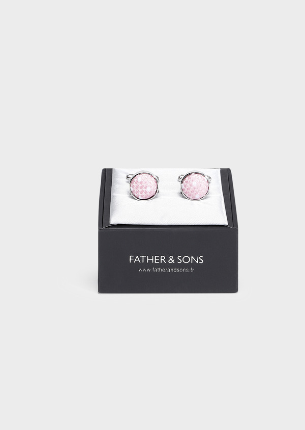 Boutons de manchettes ronds à insert soie rose - Father and Sons 32049