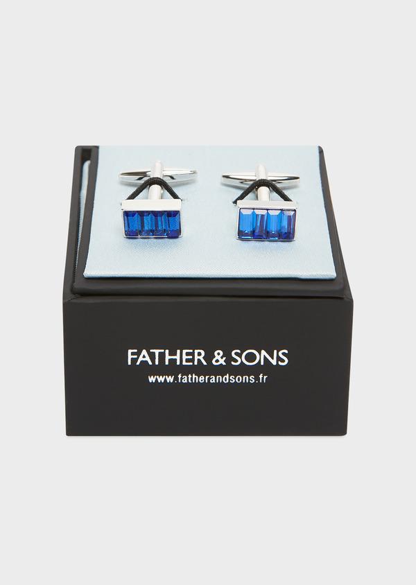 Boutons de manchettes rectangulaires bleu foncé - Father and Sons 32019