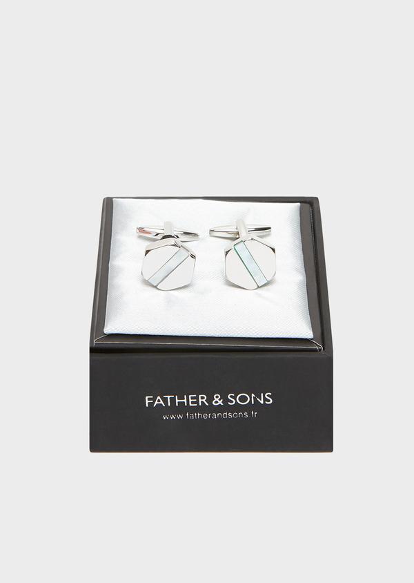Boutons de manchettes polygones écrus - Father and Sons 32029