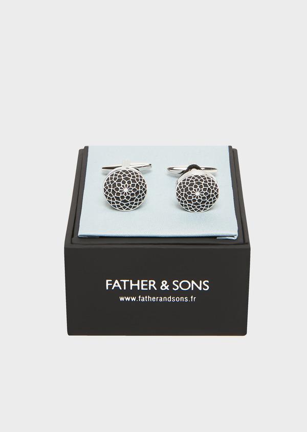 Boutons de manchettes ronds à motif fleuri noir - Father and Sons 32041