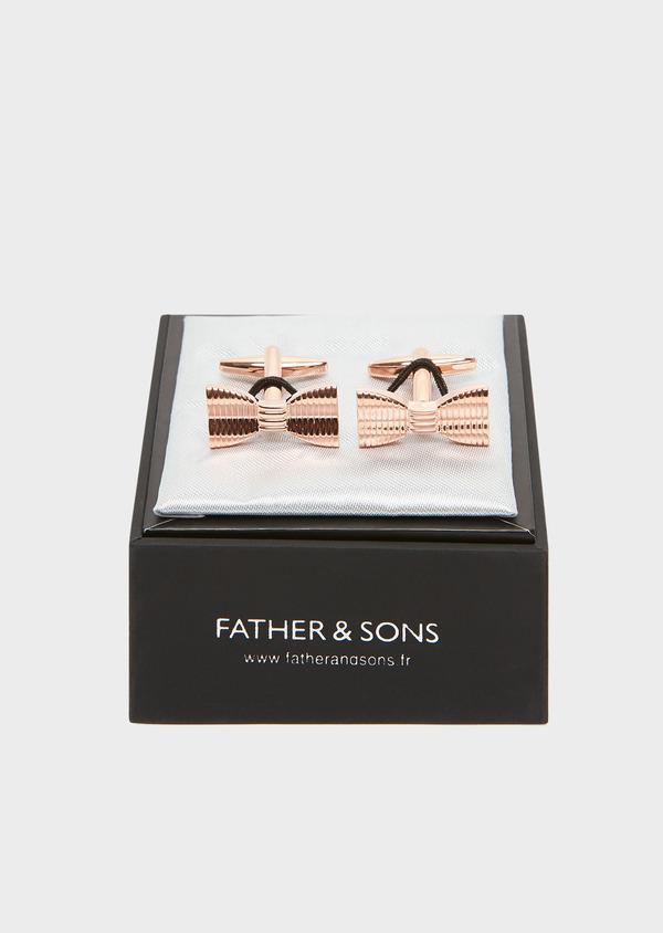 Boutons de manchettes noeuds-papillon dorés - Father and Sons 32033