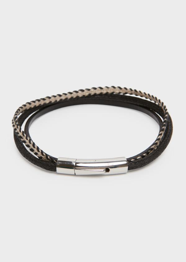 Bracelet en cuir tressé 3 lanières noir et beige - Father and Sons 18193