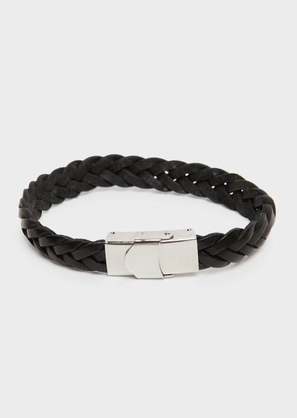 Bracelet large en cuir tressé noir - Father and Sons 18195