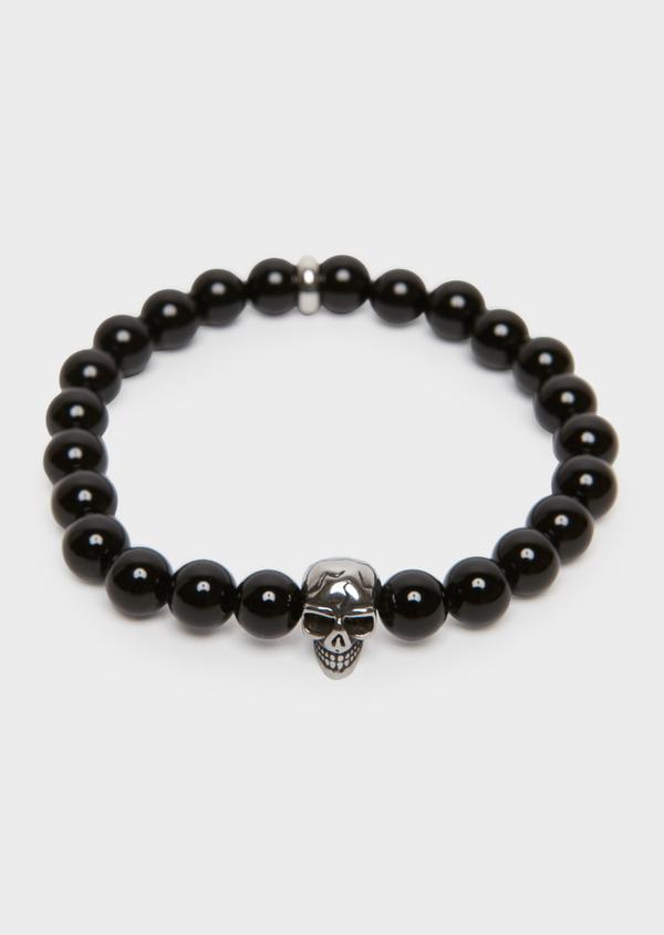 Bracelet à perles noires et insert tête de mort - Father and Sons 18203