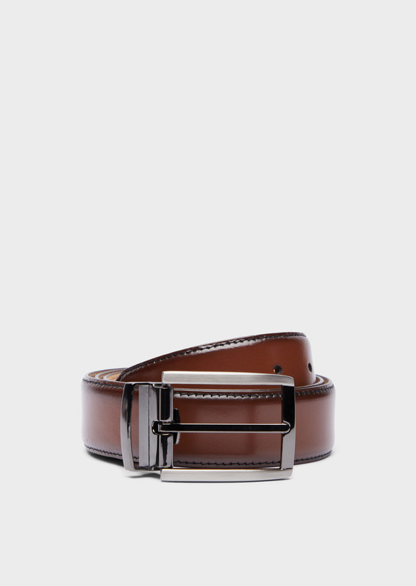 Ceinture ajustable en cuir lisse cognac ombré - Father and Sons 37939