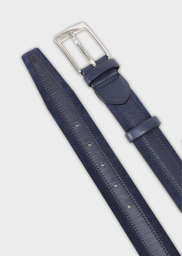 Ceinture en cuir lisse uni bleu jeans - Father and Sons 28250