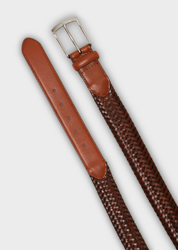 Ceinture en cuir tressé marron clair - Father and Sons 27219