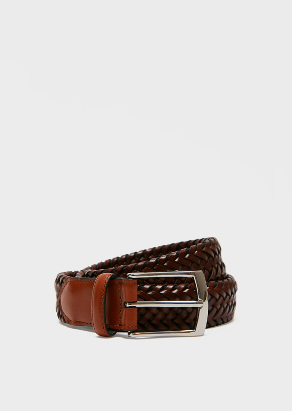Ceinture en cuir tressé marron clair - Father and Sons 27218
