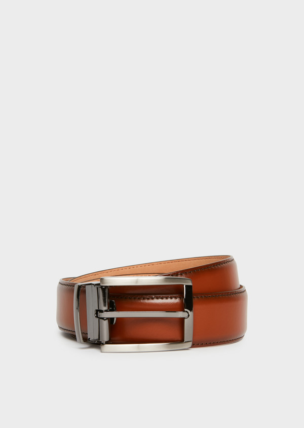 Ceinture ajustable en cuir lisse caramel - Father and Sons 25728