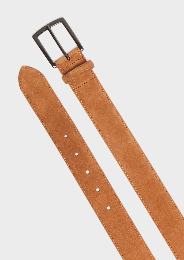 Ceinture en cuir nubuck uni cognac - Father and Sons 32107