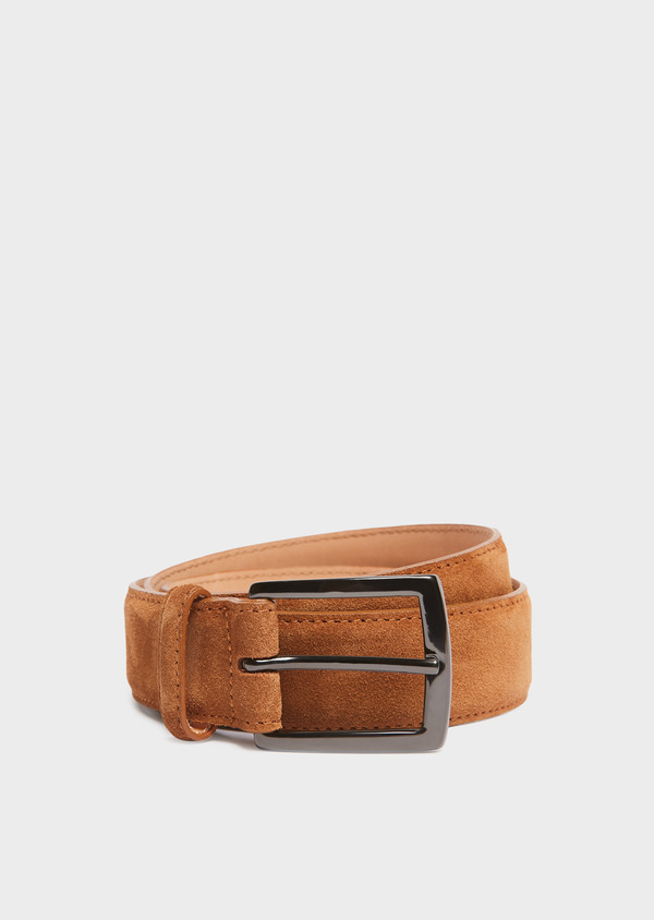 Ceinture en cuir nubuck uni cognac - Father and Sons 32106