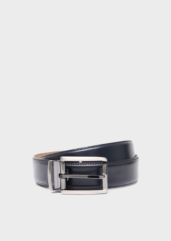 Ceinture ajustable en cuir lisse marine - Father and Sons 34759