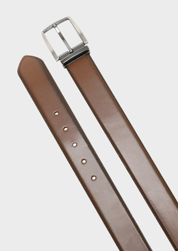 Ceinture ajustable en cuir lisse cognac - Father and Sons 32083