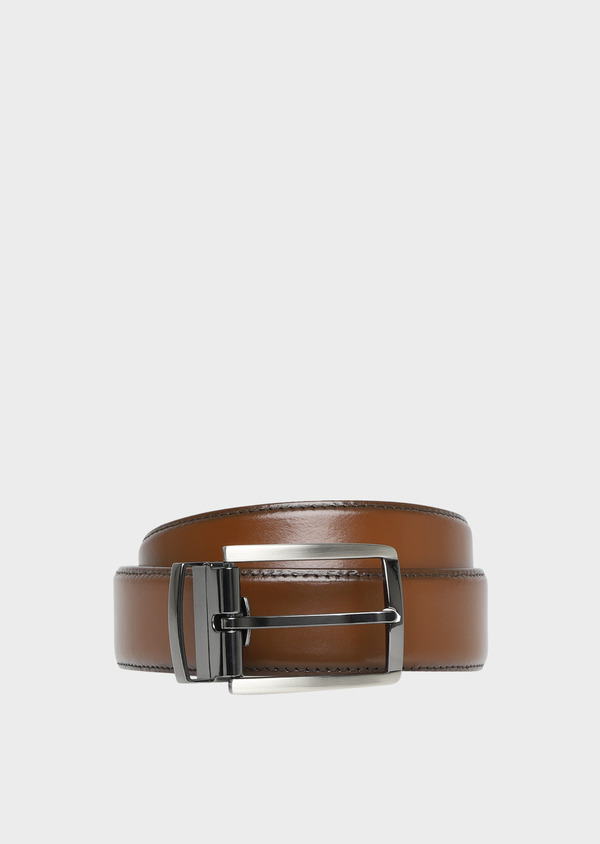 Ceinture ajustable en cuir lisse cognac - Father and Sons 32082