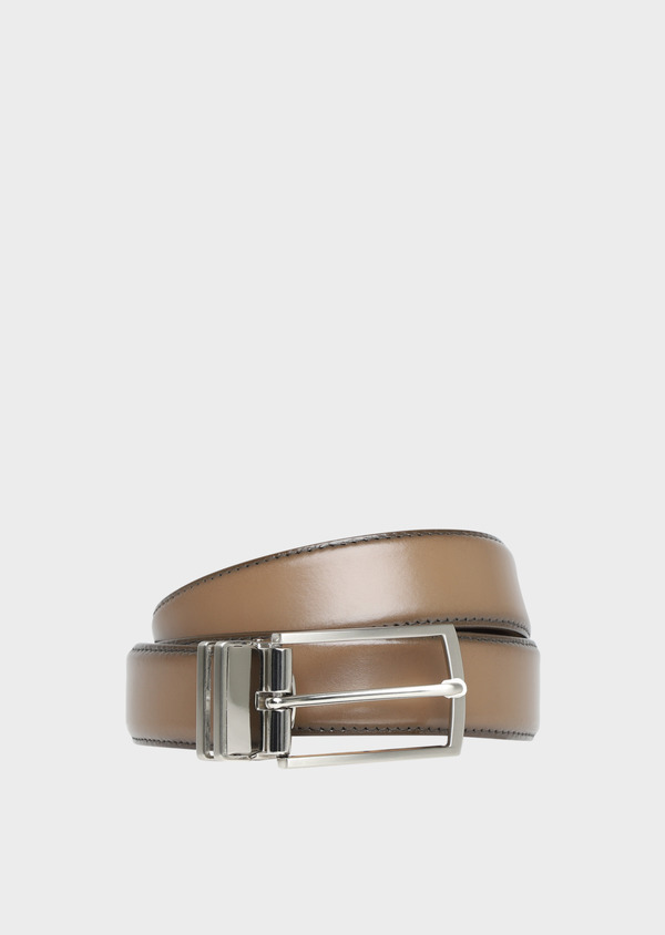 Ceinture ajustable en cuir lisse marron taupe - Father and Sons 32100