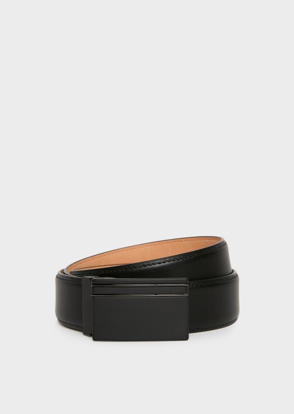 Ceinture ajustable en cuir lisse noir - Father and Sons 25732