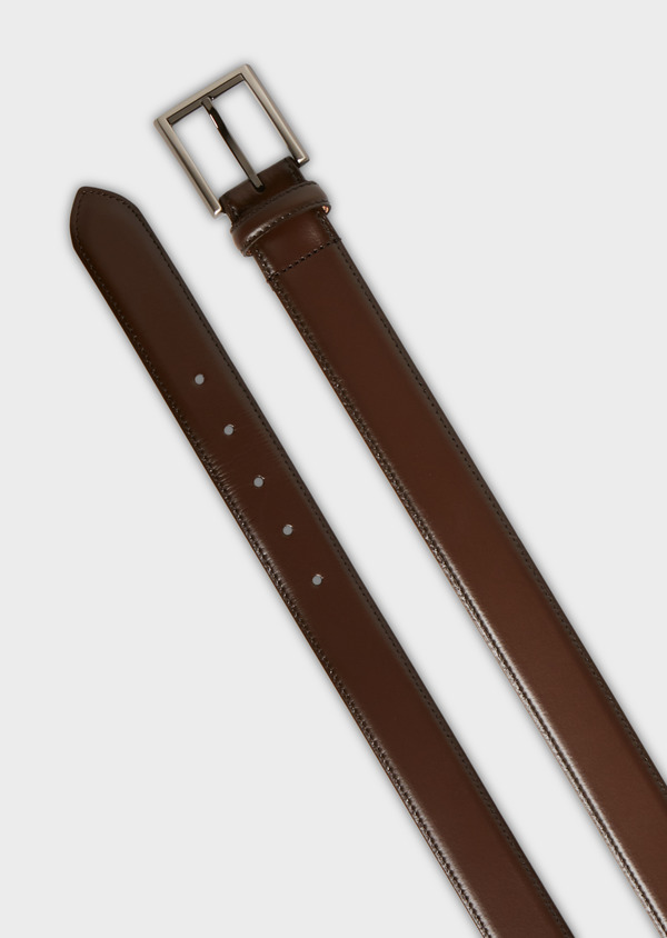 Ceinture en cuir lisse taupe - Father and Sons 25747