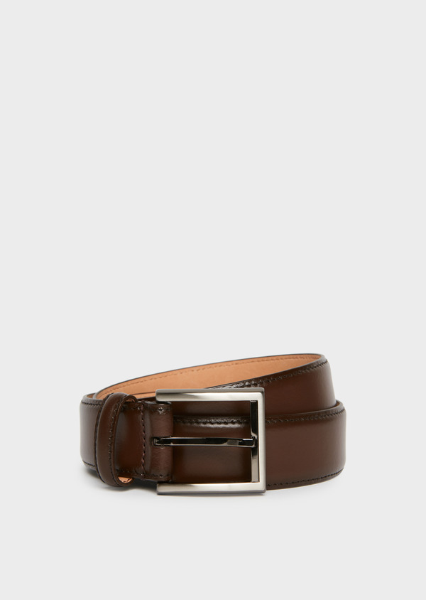 Ceinture en cuir lisse taupe - Father and Sons 25746