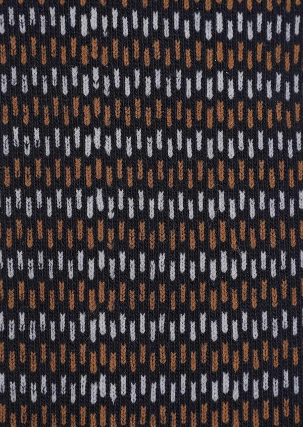 Chaussettes en coton mélangé bleu nuit à motif fantaisie gris et marron - Father and Sons 35603