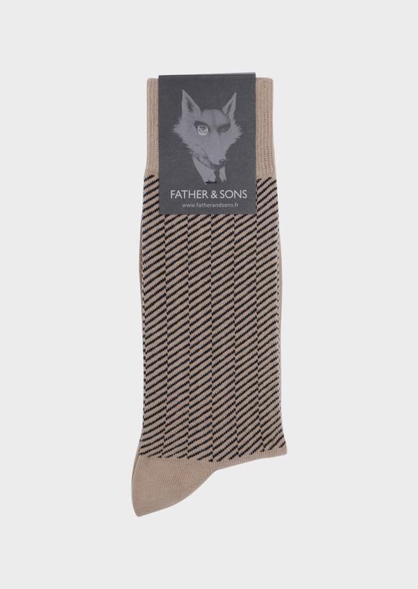 Chaussettes en coton mélangé camel à rayures diagonales grises - Father and Sons 35586