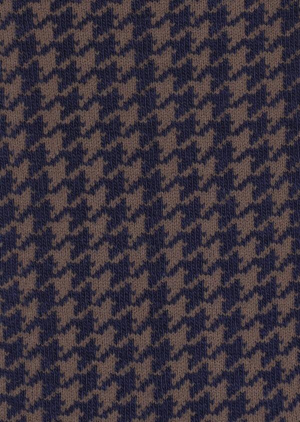 Chaussettes en coton mélangé bleu à motif pied-de-poule marron - Father and Sons 35581