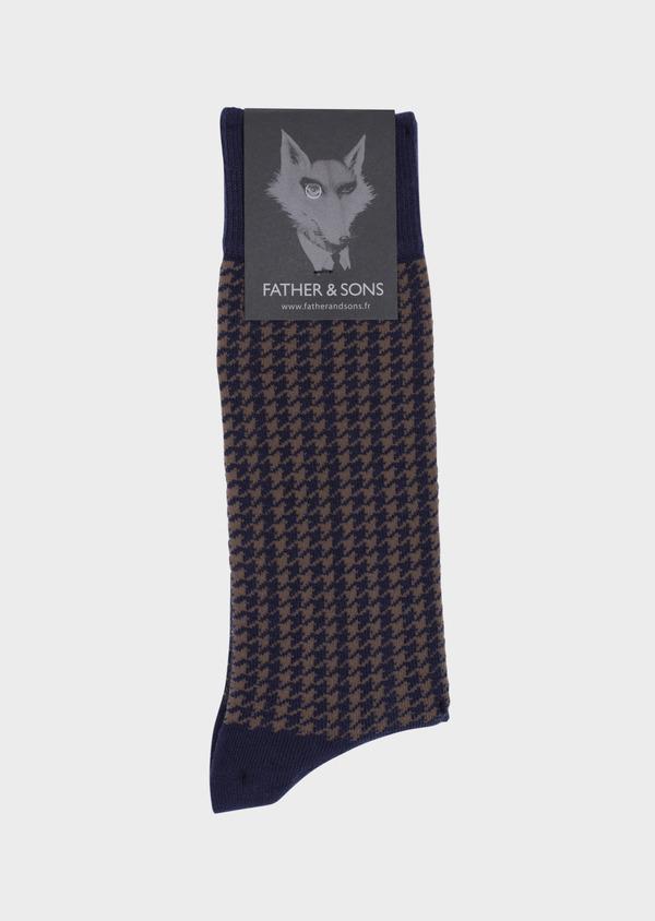 Chaussettes en coton mélangé bleu à motif pied-de-poule marron - Father and Sons 35580