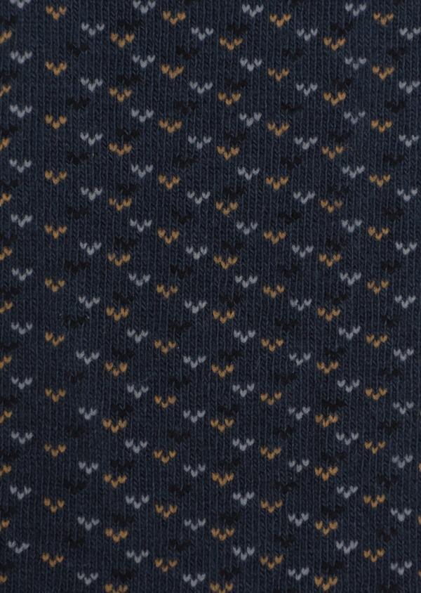 Chaussettes en coton mélangé bleu à motif fantaisie gris, noir et jaune - Father and Sons 35573