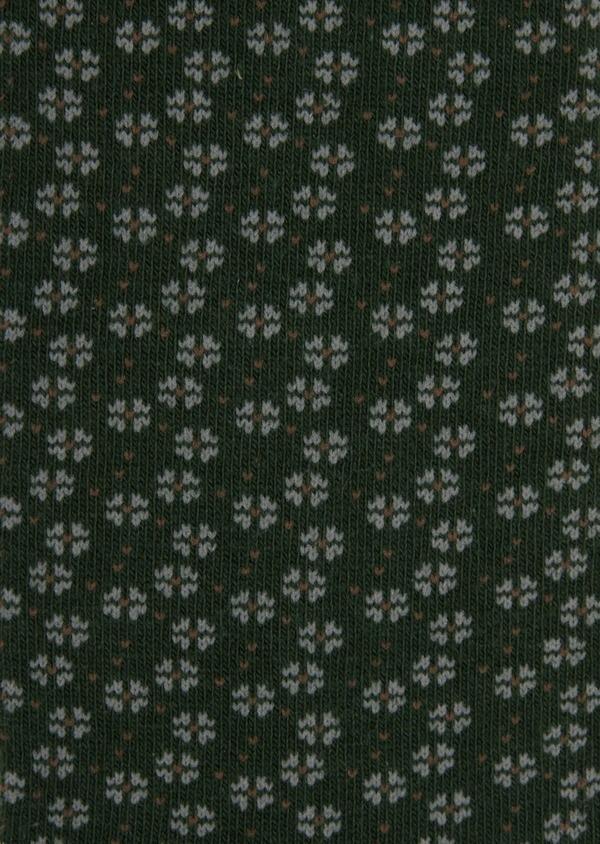 Chaussettes en coton mélangé vert à motifs gris et marron - Father and Sons 36277
