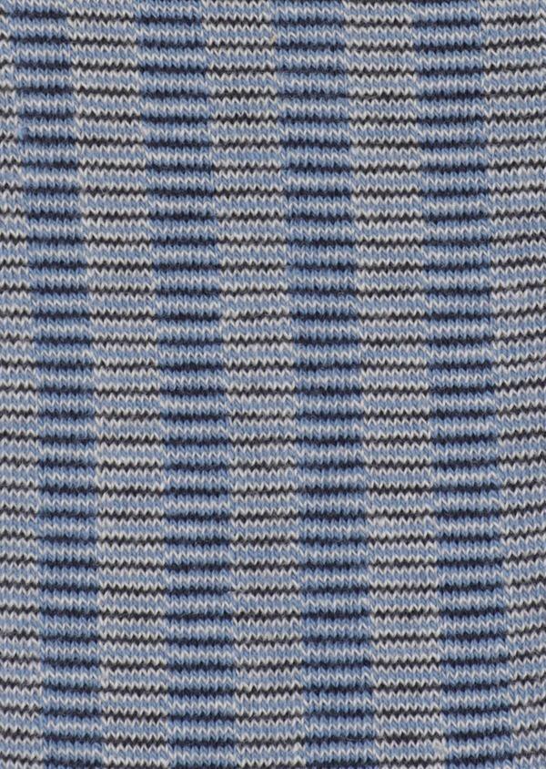 Chaussettes en coton mélangé bleu chambray à motifs géométriques beige et bleu marine - Father and Sons 34818