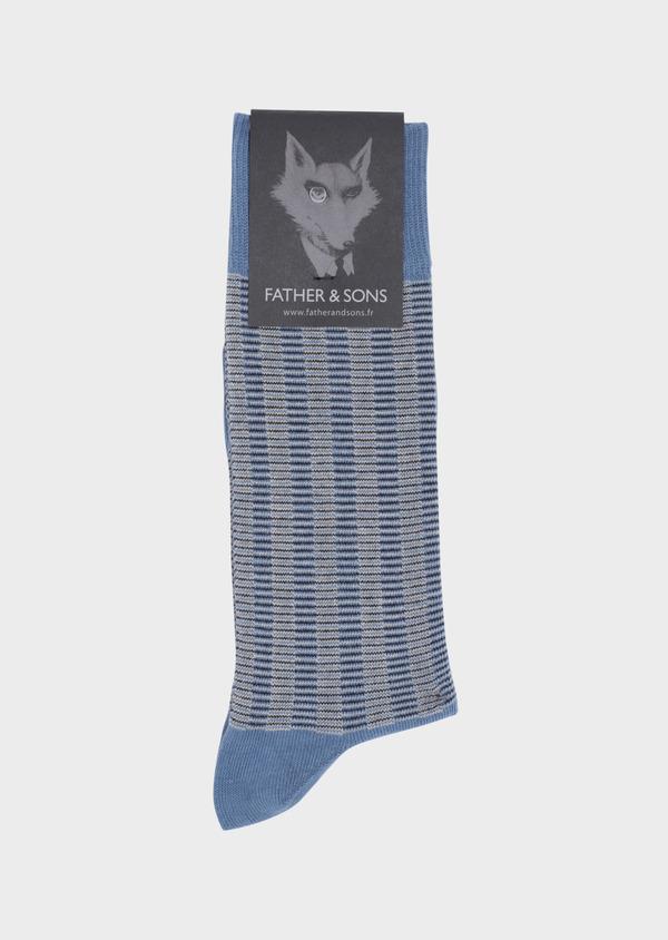 Chaussettes en coton mélangé bleu chambray à motifs géométriques beige et bleu marine - Father and Sons 34817