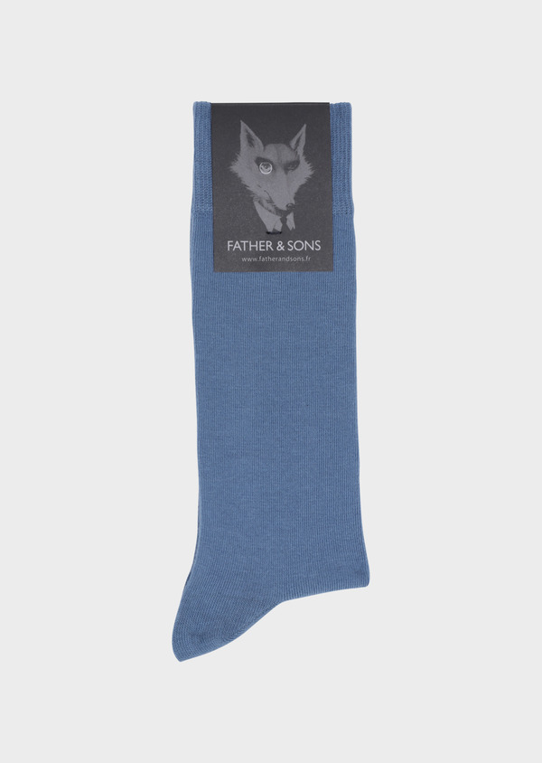 Chaussettes en coton mélangé uni bleu chambray - Father and Sons 34801