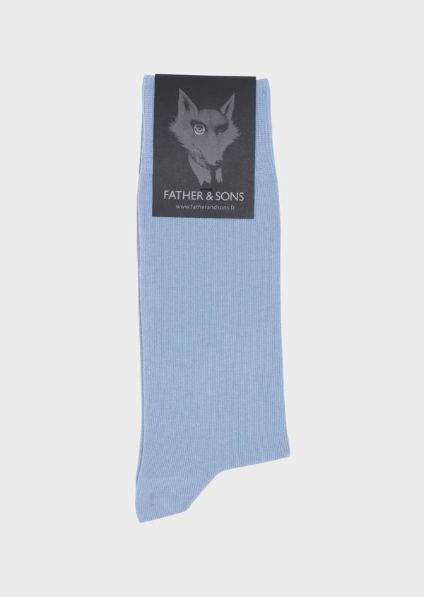 Chaussettes en coton mélangé uni bleu ciel - Father and Sons 34797