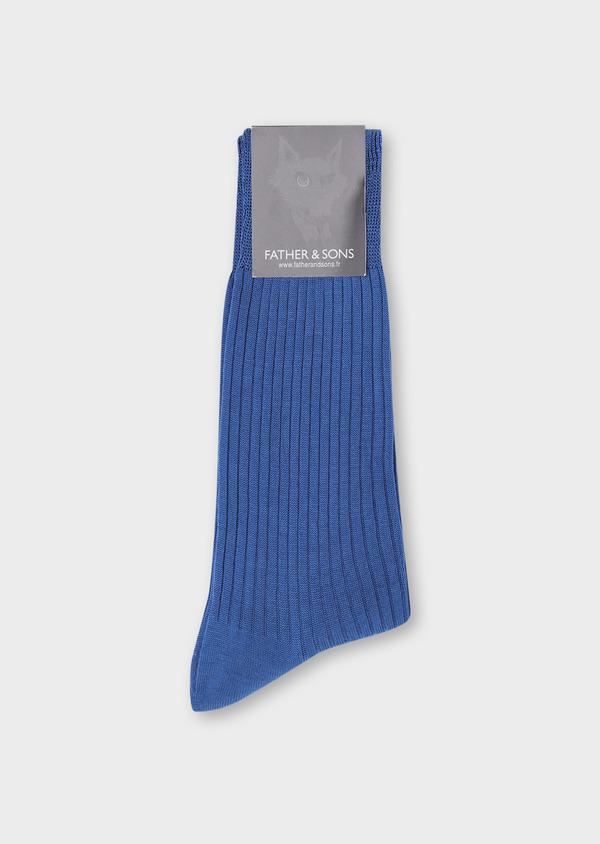 Chaussettes en coton fil d'Ecosse uni bleu - Father and Sons 34829