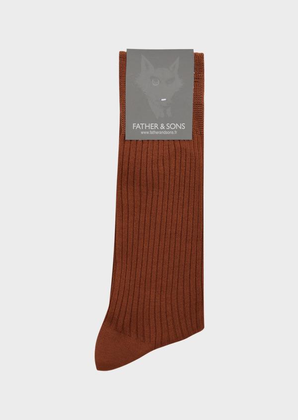 Chaussettes en coton fil d'Ecosse uni marron - Father and Sons 37283