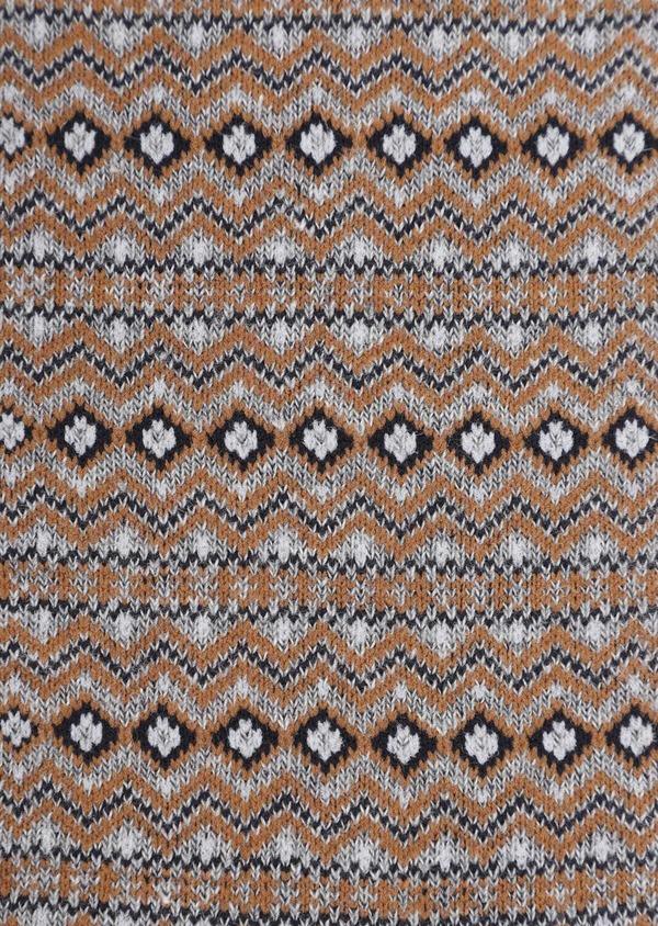 Chaussettes en coton mélangé gris à motif fantaisie marron, bleu et blanc - Father and Sons 35595