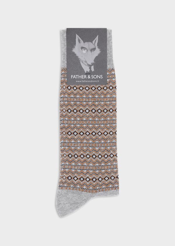 Chaussettes en coton mélangé gris à motif fantaisie marron, bleu et blanc - Father and Sons 35594
