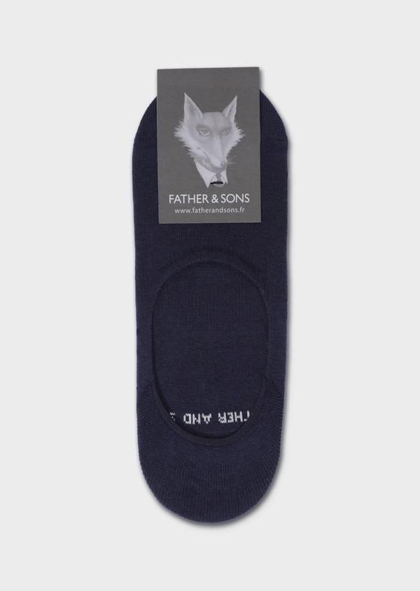 Chaussettes invisibles en coton mélangé uni bleu marine - Father and Sons 35896