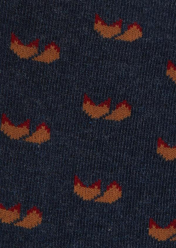 Chaussettes en coton mélangé bleu jean à motif fantaisie camel - Father and Sons 25899