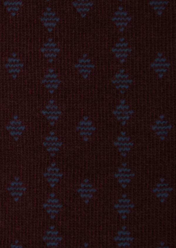 Chaussettes en coton mélangé bordeaux à motif fantaisie bleu gris - Father and Sons 31671