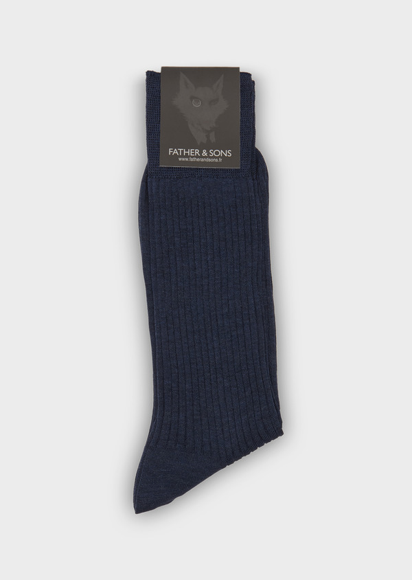 Chaussettes en coton mélangé bleu chambray uni - Father and Sons 25826