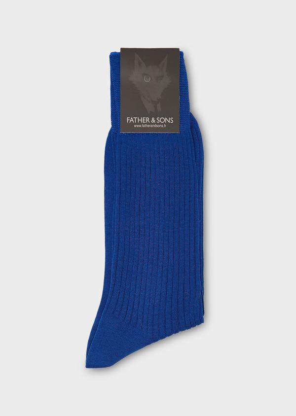 Chaussettes en coton mélangé bleu uni - Father and Sons 27234