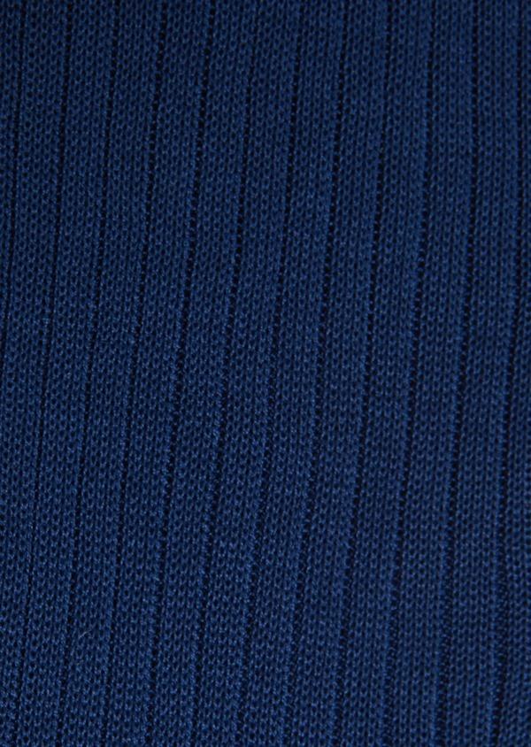 Chaussettes en coton fil d'Ecosse uni bleu indigo - Father and Sons 18150