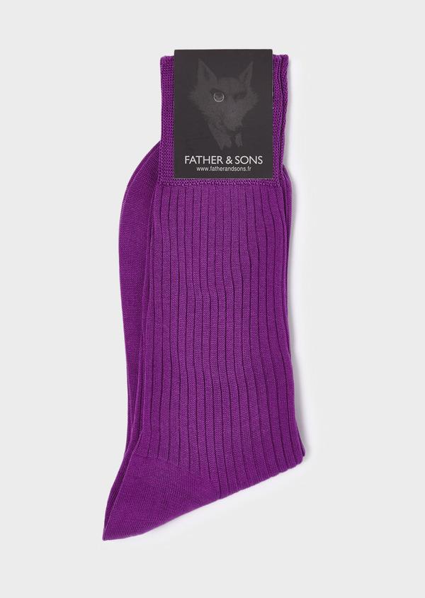 Chaussettes en coton fil d'Ecosse unies violet - Father and Sons 18608