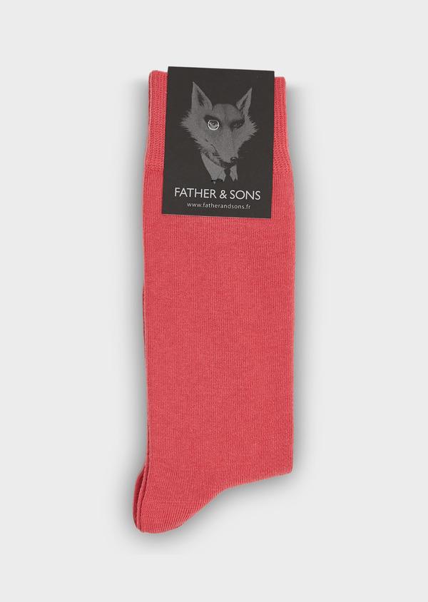 Chaussettes en coton mélangé rose uni - Father and Sons 25782