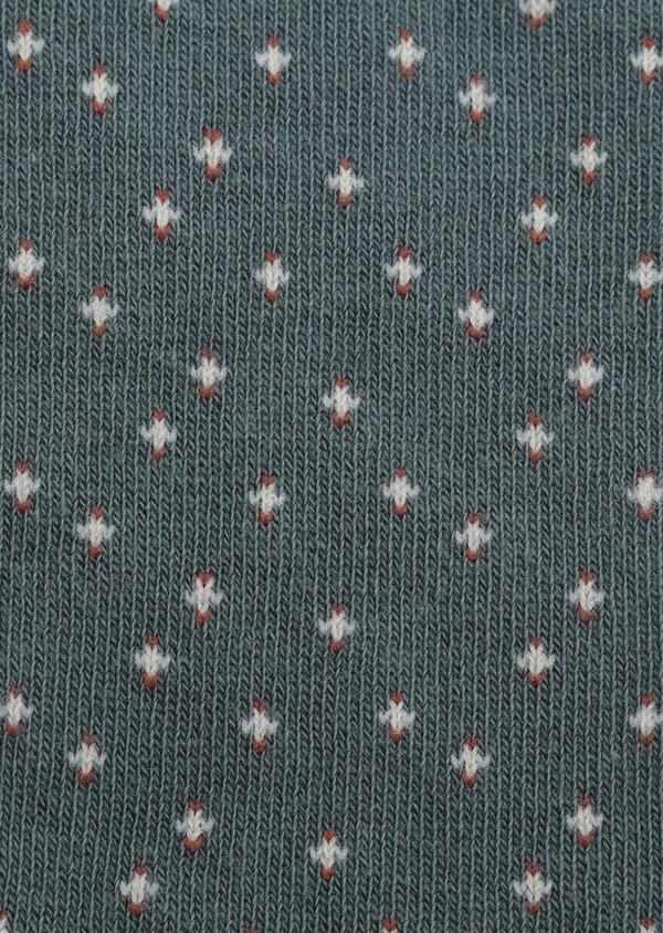 Chaussettes en coton mélangé vert à motif fantaisie beige, marron et gris - Father and Sons 32175