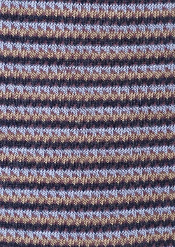 Chaussettes en coton mélangé gris clair à motif fantaisie camel, bleu et violet - Father and Sons 32155