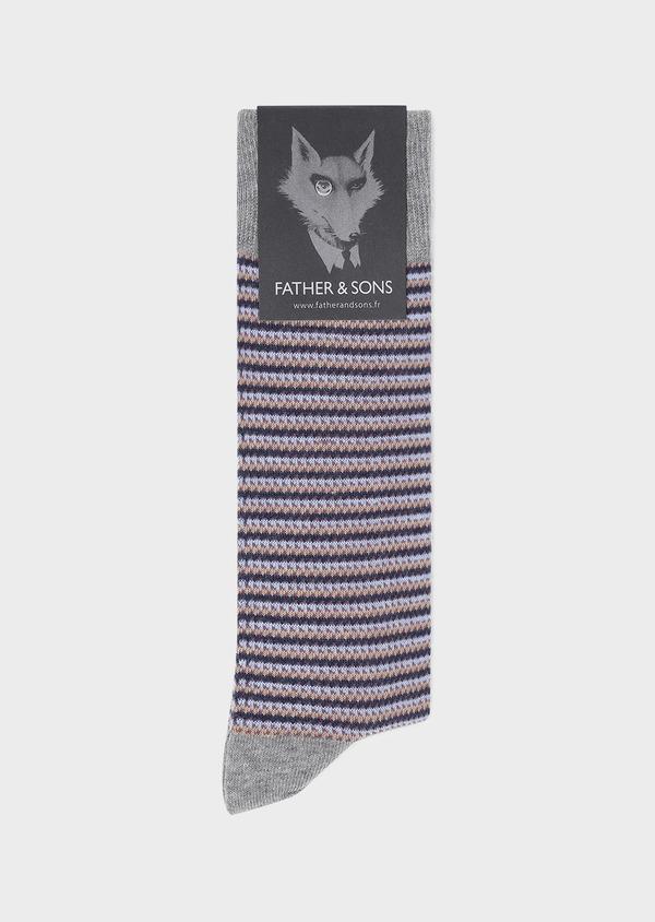 Chaussettes en coton mélangé gris clair à motif fantaisie camel, bleu et violet - Father and Sons 32154